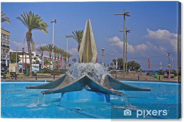 Obraz na płótnie Netanya. Fontanna na placu miasta - Bliski Wschód
