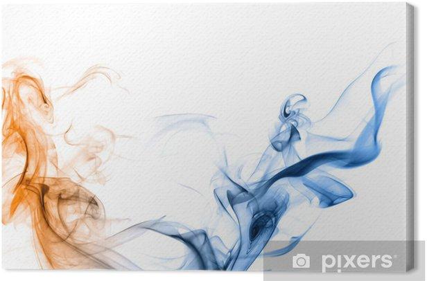 Obraz na płótnie Niebieski i pomarańczowy dym na białym tle. - Tematy