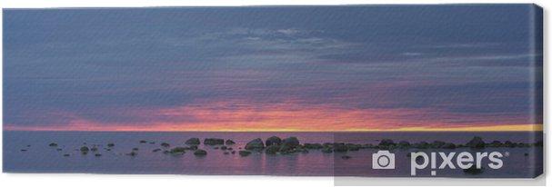 Obraz na płótnie Niebieski zachód słońca na morzu - Niebo