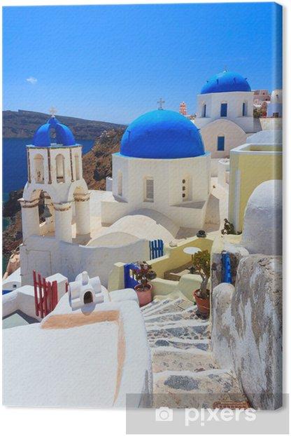 Obraz na płótnie Niebieskie kopuły kościołów Santorini Oia - Europa