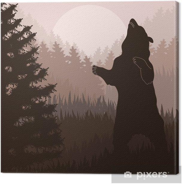 Obraz na płótnie Niedźwiedź brunatny w dzikim lesie liści - Tematy