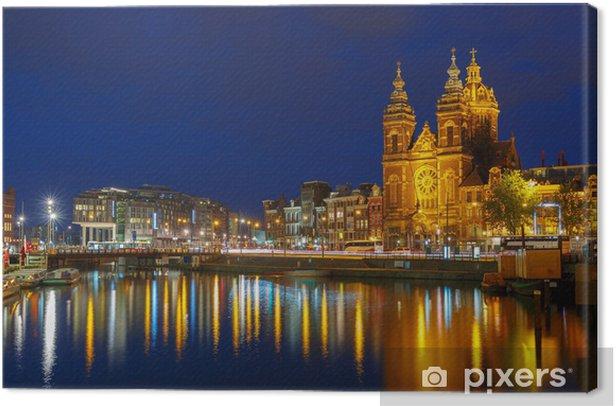 Obraz na płótnie Noc miasta Widok kanał Amsterdam i Bazylika św Nichola - Miasta europejskie