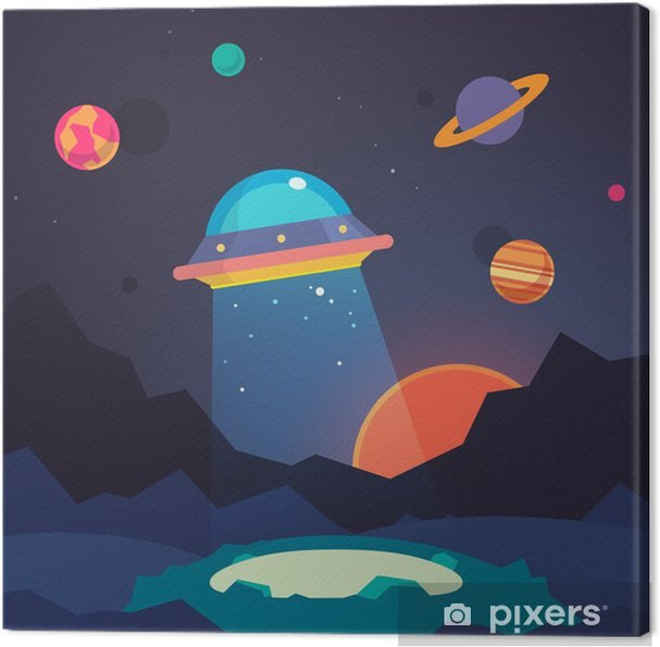 Obraz na płótnie Noc obcy świat krajobraz i kosmiczny ufo - Nauka