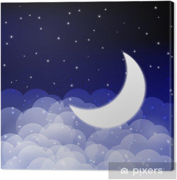 Obraz na płótnie Nocne niebo z błyszczącą księżyca - Przestrzeń kosmiczna