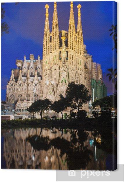 Obraz na płótnie Nocny widok z Sagrada Familia w Barcelonie. Hiszpania - Tematy