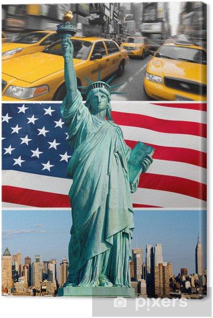 Obraz na płótnie Nowy jork, pomnik de la Liberté, taxi, skyline - Miasta amerykańskie