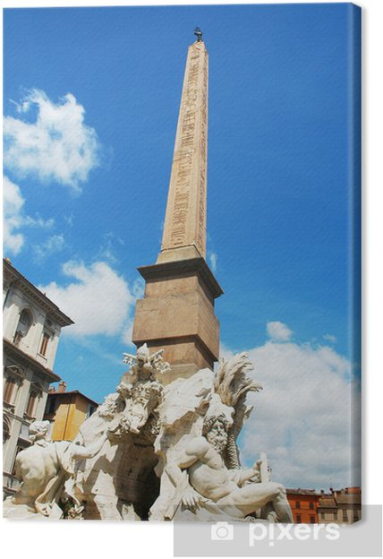 Obraz na płótnie Obelisk Fontanna Czterech Rzek na Piazza Navona, Rzym - Miasta europejskie