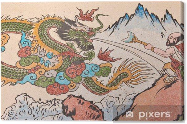 Obraz na płótnie Obraz człowieka i chiński smok na ścianie świątyni - Tematy