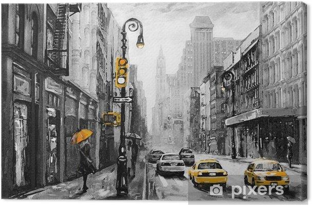 Obraz na płótnie Obraz olejny na płótnie, widok ulicy Nowego Jorku, mężczyzna i kobieta, żółte taksówki, nowoczesne dzieła sztuki, amerykańskie miasto, ilustracja Nowy Jork - Podróże