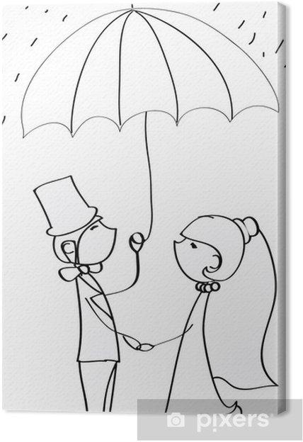 Obraz na płótnie Obraz ślub, panna młoda i pan młody w miłości, wektor - Pary