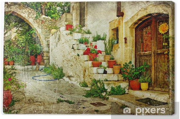 Obraz na płótnie Obrazkami wioski greckie (Lutra) - grafika w stylu retro - Tematy