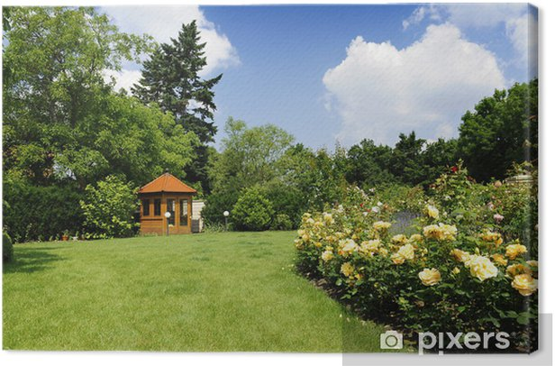 Obraz na płótnie Ogród z róż i lawendy - Dom i ogród
