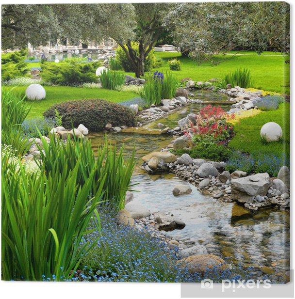Obraz na płótnie Ogród ze stawem w stylu azjatyckich - iStaging