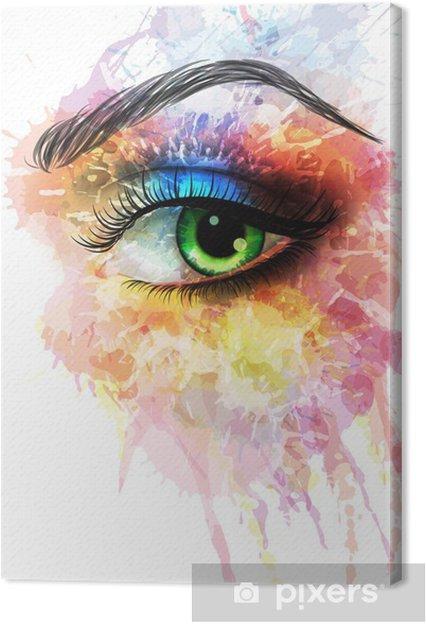 Obraz na płótnie Oko z kolorowymi plamami - Naklejki na ścianę