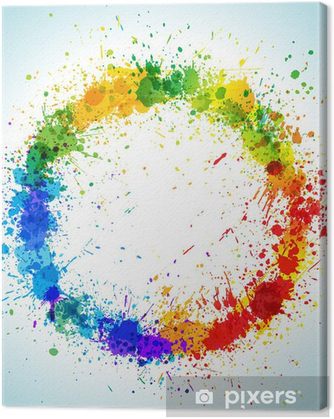 Obraz na płótnie Okrągłe plamy koloru farby tła - Znaki i symbole