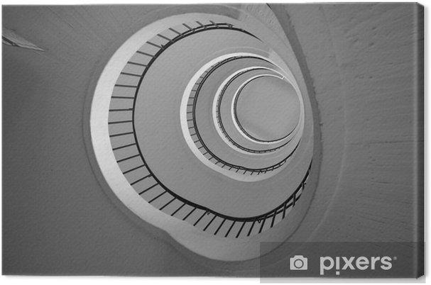 Obraz na płótnie Okrągłe schody widok z dołu w czerni i bieli - Budynki i architektura