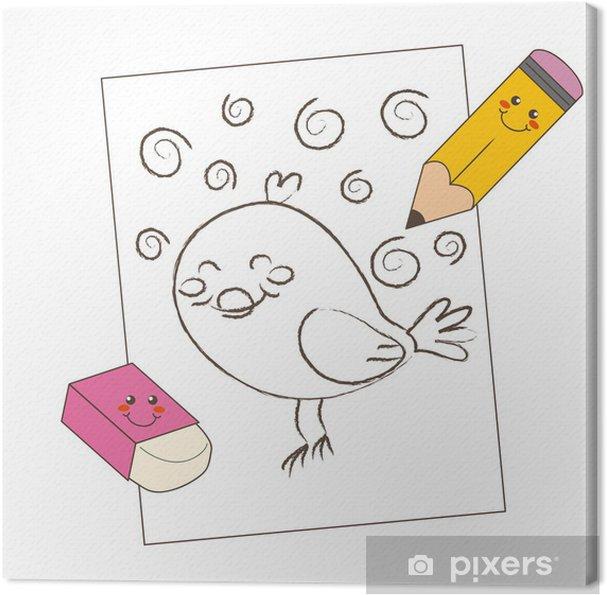Obraz Na Płótnie Ołówek I Gumka Ptaka Rysunek Szkic Pixers