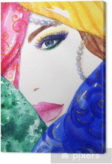 Obraz na płótnie Oman portret .abstract tło akwarela .fashion - Kobiety