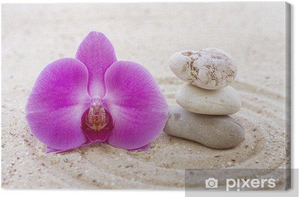 Obraz na płótnie Orchidea z kamieni zen w piasku - Wakacje