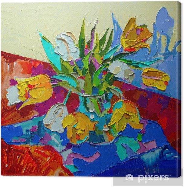 Obraz na płótnie Oryginalny obraz olejny, martwa natura z tulipan, kwiat wiosny. mo - Kwiaty