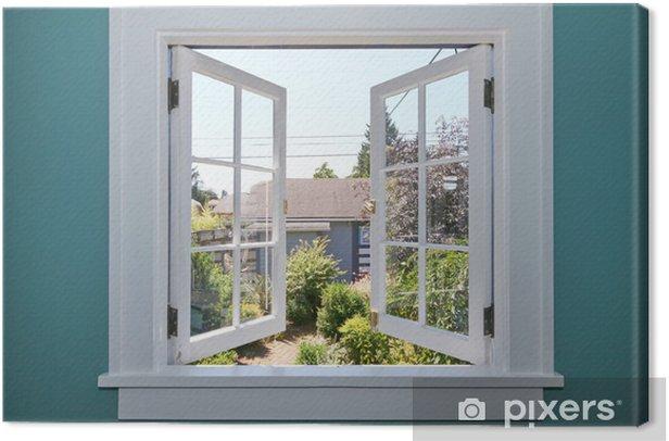 Obraz na płótnie Otwórz okno na podwórku z małym szopie. - Budynek prywatny