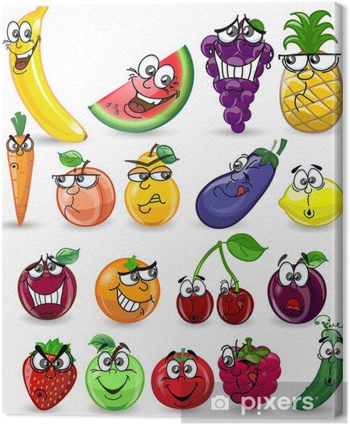 Obraz na płótnie Owoce i warzywa z kreskówek - Posiłki