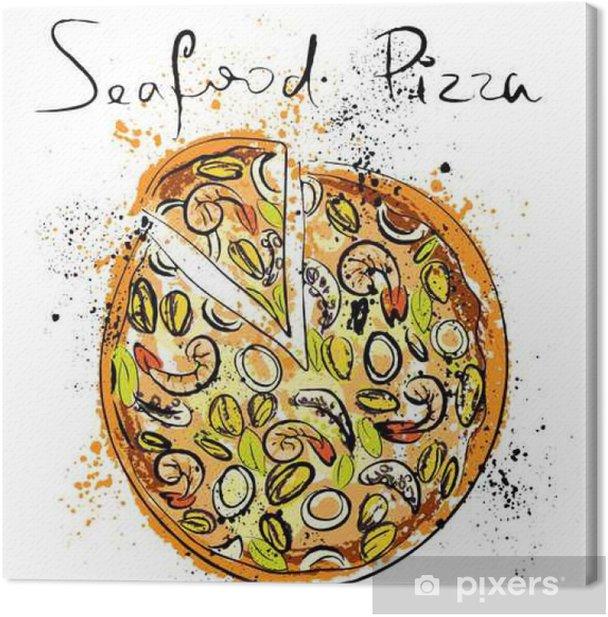 Obraz na płótnie Owoce morza pizzy, sporządzone w kredą na tablicy - Jedzenie