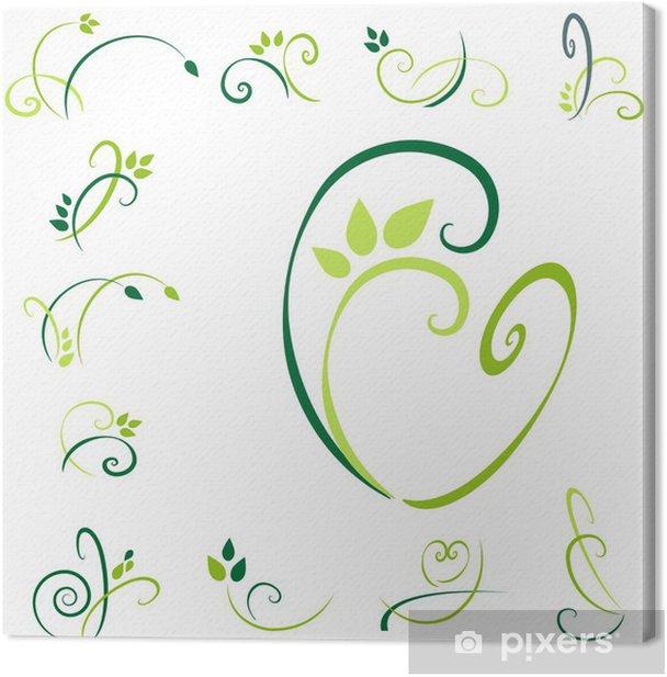 Obraz na płótnie Ozdoby - green SET3 - Abstrakcja