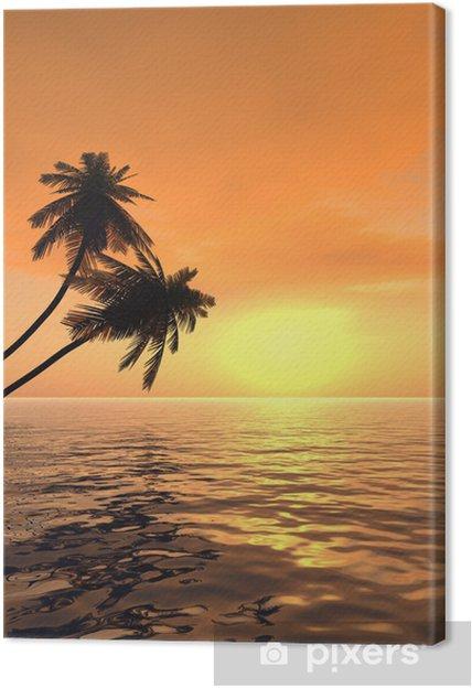 Obraz na płótnie Palm_sunset_v - Drzewa