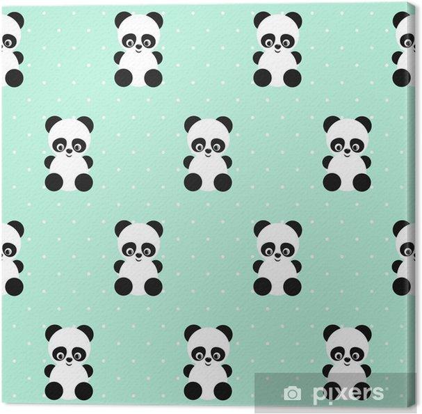 Obraz na płótnie Panda szwu na kropki zielone tło. Śliczne projektowanie do druku na ubrania dziecka, tkaniny, tapety, tkaniny. Wektor tła z uśmiecha się panda dziecko zwierząt. Dziecko stylu ilustracji. - Zwierzęta