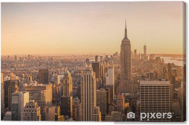 Obraz na płótnie Panorama panoramę Nowego Jorku na zachód słońca - Krajobrazy