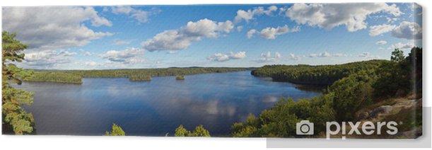 Obraz na płótnie Panorama szwedzkiego jeziora w okresie letnim - Europa