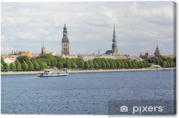 Obraz na płótnie Panoramiczny widok Starego Miasta w Rydze i Dźwiny, Łotwa - Europa