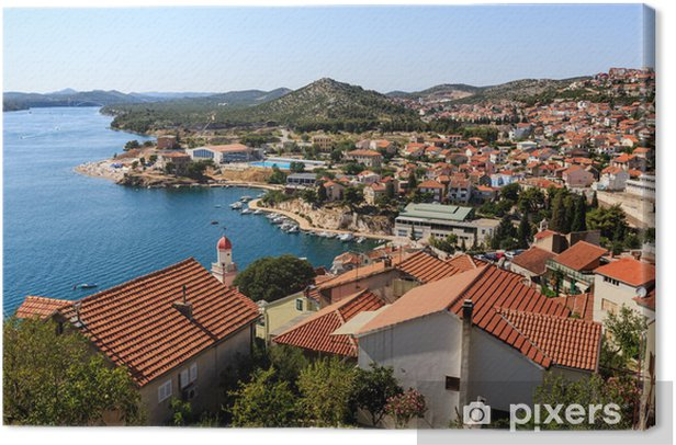 Obraz na płótnie Panoramiczny widok z Góry na Sibenik i wysp Dalmacji, C - Wakacje