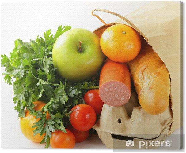 Obraz na płótnie Papierowa torba na zakupy pełen produktów - Mięso