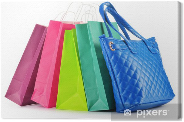 84311ae63334a Obraz na płótnie Papierowe torby na zakupy i torebki na białym tle ...