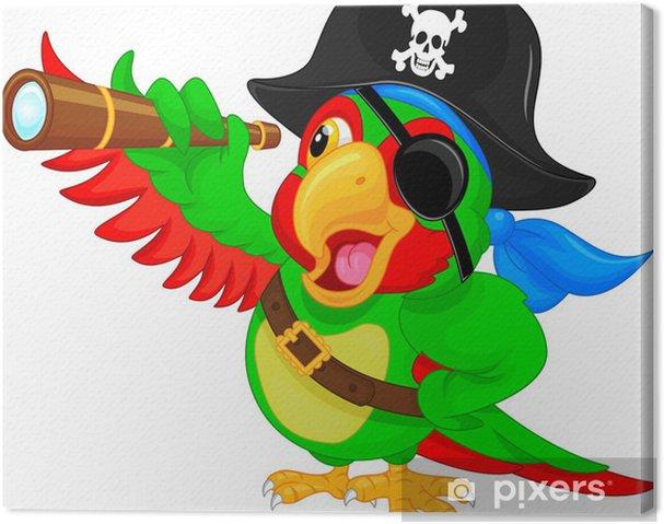 Obraz na płótnie Papuga pirata kreskówki - Ptaki