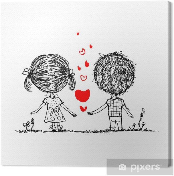 Obraz na płótnie Para w miłości razem, walentynki szkic do projektowania - Pary