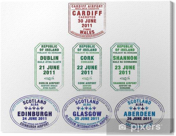 Obraz na płótnie Paszport znaczków z Walii, Irlandii i Szkocji. - Wakacje