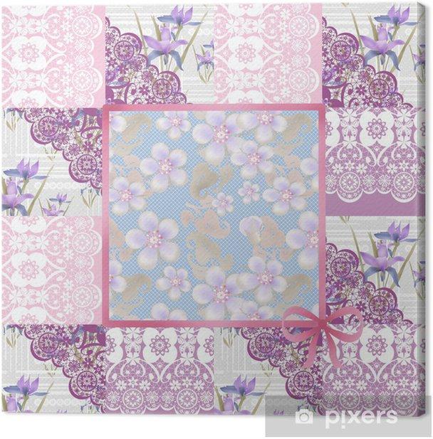 Obraz na płótnie Patchwork bezszwowych koronkowy różowy kwiatowy wzór retro - Style
