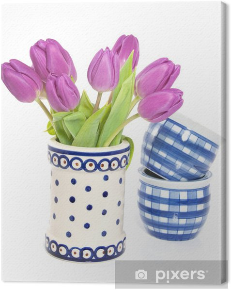 Obraz na płótnie Pęczek fioletowych tulipanów w niebieskim Wazon biały - Kwiaty