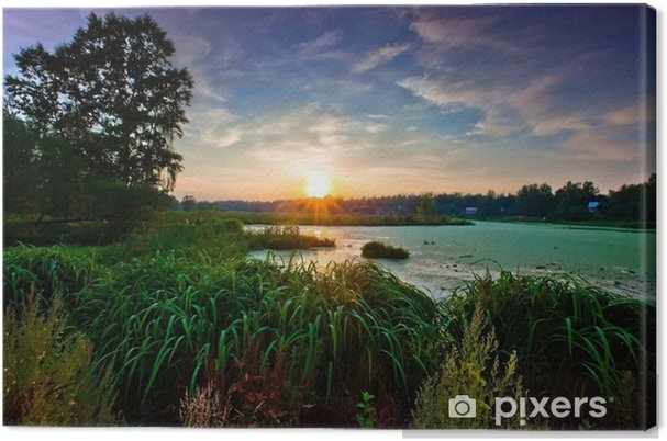 Obraz na płótnie Pejzaż z rzeczką lesie na zachód słońca - Pory roku