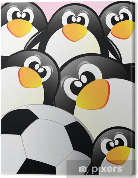 Obraz na płótnie Penguins i piłka nożna - Ptaki