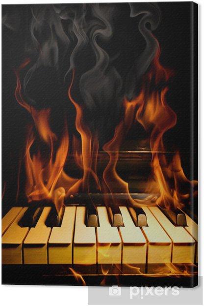 Obraz na płótnie Piano w płomieniach - Tekstury