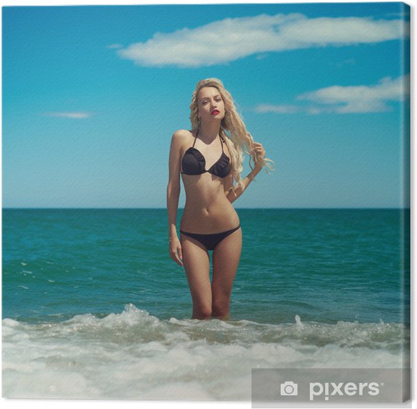 Obraz na płótnie Piękna blondynka na morze - Wakacje