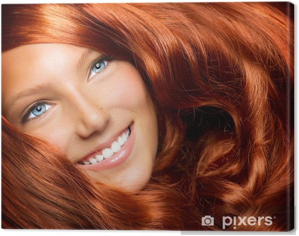 Obraz na płótnie Piękna Dziewczyna Z Długimi Włosami Zdrowych Red Kręcone - Nastolatkowie