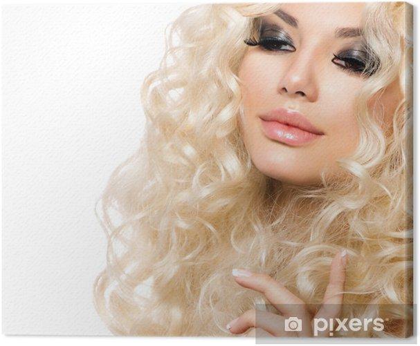 Obraz na płótnie Piękna Dziewczyna Z Zdrowych długie kręcone włosy. Blondynka - Kobiety