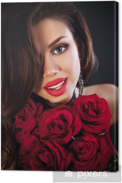 Obraz na płótnie Piękna kobieta gospodarstwa czerwone róże bukiet, walentynki. - Kobiety
