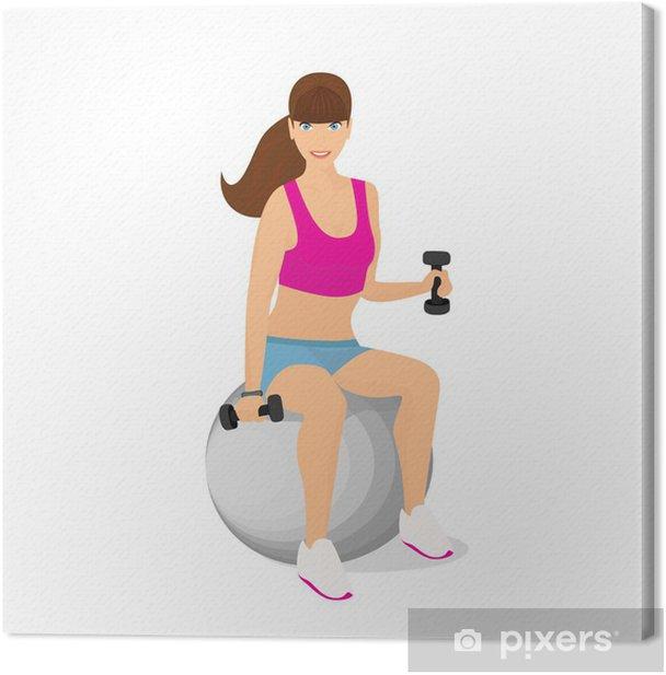 Obraz na płótnie Piękna kobieta korzystania z hantle siedząc dwa obciążniki na - Sporty indywidualne