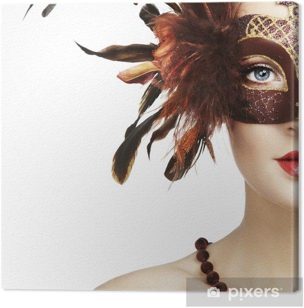 Obraz na płótnie Piękna młoda kobieta w brązowym tajemniczej maski weneckie - Kobiety